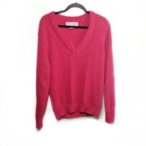 Vintage Sparkly Hot Pink V Neck Sweater